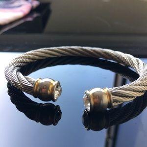 Twisted cable silver tone rhinestone bracelet cuff